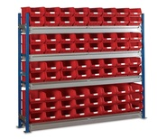 Toprax - Longspan Bay Shelving c/w Red TC Bin Kits - Steel Shelves