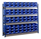 Toprax - Longspan Bay Shelving c/w Blue TC Bin Kits - Steel Shelves