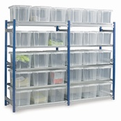 Toprax 1500mm Shelving c/w 24Ltr.Containers