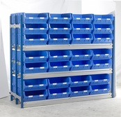 Toprax - Longspan Bay Shelving c/w Blue TC Bin Kits - Chipboard Shelves