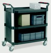 Utility Tray Trolleys - 3 Shelf - Sides/Back Enclosed
