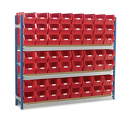 Toprax - Longspan Bay Shelving c/w Red TC Bin Kits - Chipboard Shelves