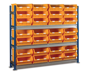 Toprax - Longspan Bay Shelving c/w Yellow TC Bin Kits - Chipboard Shelves